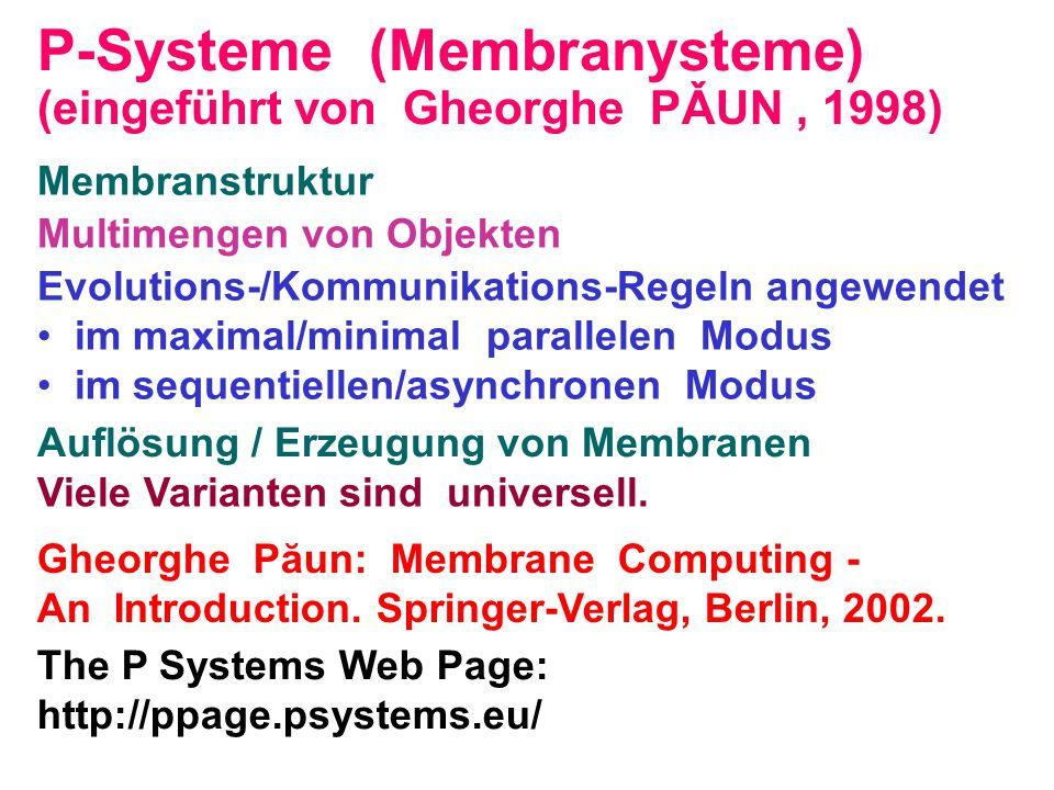 (eingeführt von Gheorghe PǍUN, 1998) Membranstruktur Multimengen von Objekten Evolutions-/Kommunikations-Regeln angewendet • im maximal/minimal parall