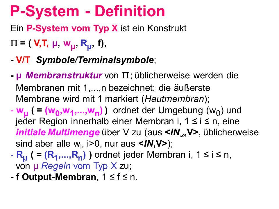 P-System - Definition Ein P-System vom Typ X ist ein Konstrukt  = ( V,T, μ, w μ, R μ, f), - V/T Symbole/Terminalsymbole; - μ Membranstruktur von  ;