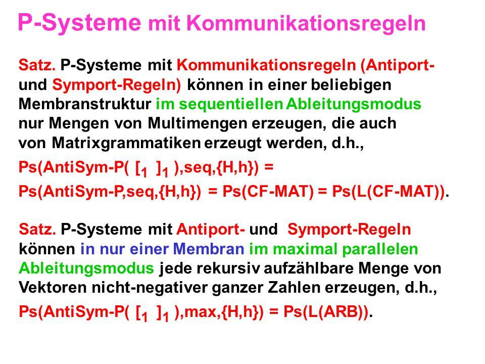 P-Systeme mit Kommunikationsregeln Satz. P-Systeme mit Kommunikationsregeln (Antiport- und Symport-Regeln) können in einer beliebigen Membranstruktur