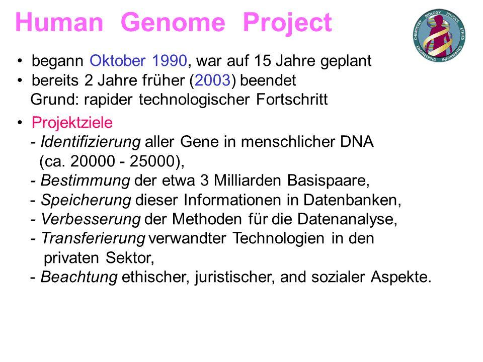 • begann Oktober 1990, war auf 15 Jahre geplant • bereits 2 Jahre früher (2003) beendet Grund: rapider technologischer Fortschritt • Projektziele - Id