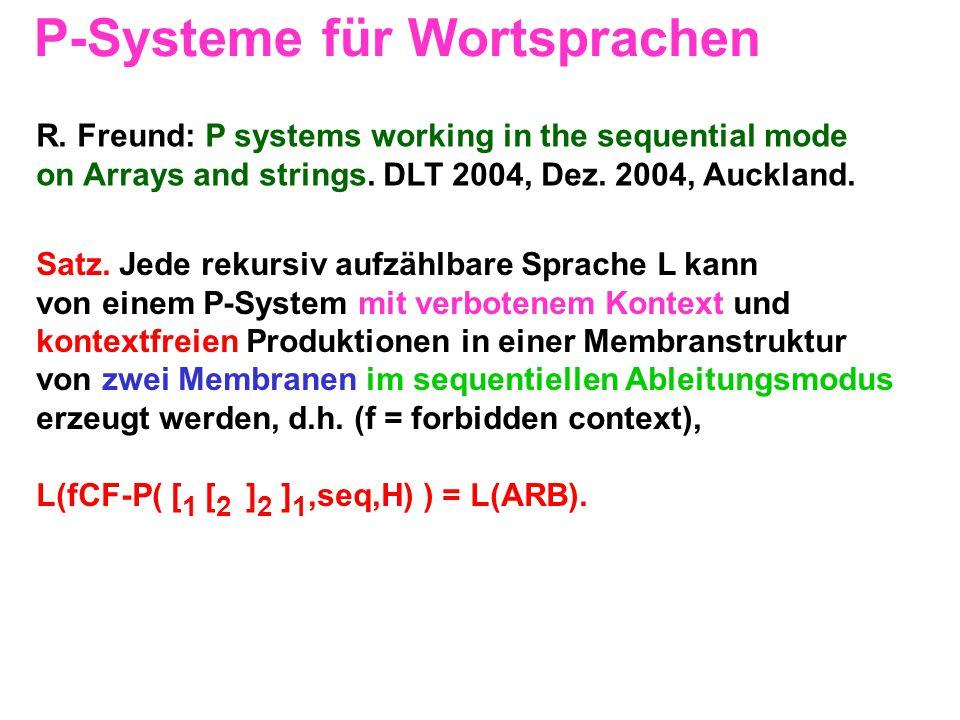 P-Systeme für Wortsprachen Satz. Jede rekursiv aufzählbare Sprache L kann von einem P-System mit verbotenem Kontext und kontextfreien Produktionen in