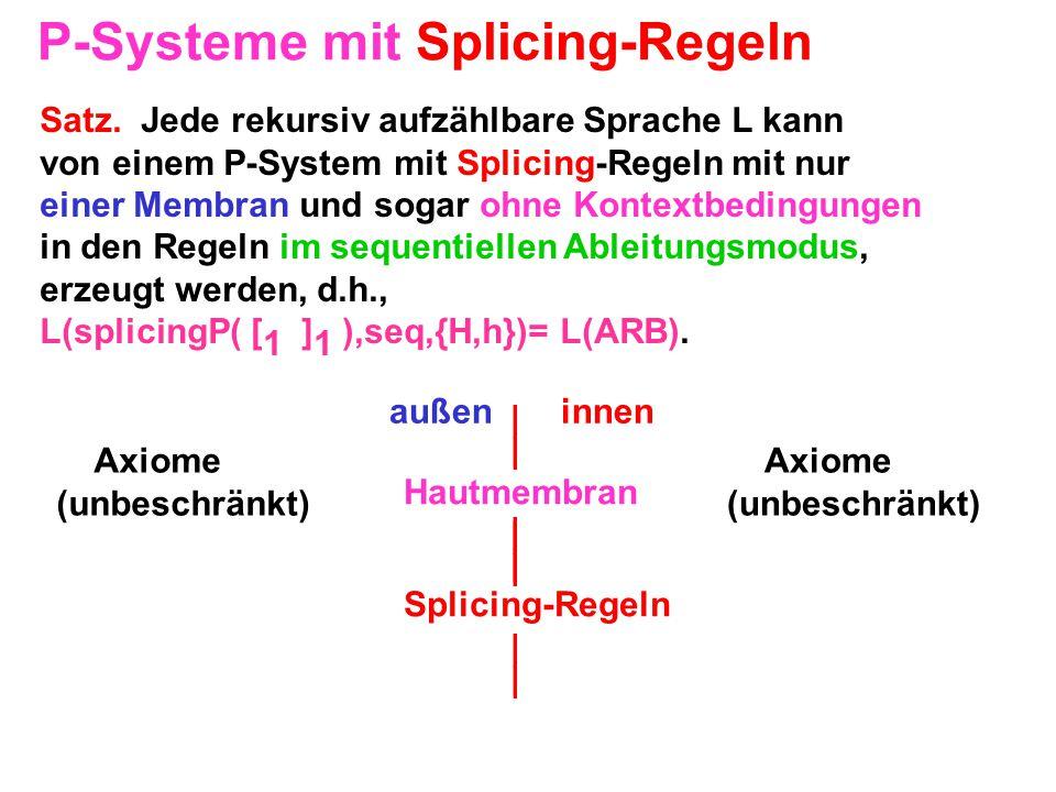 P-Systeme mit Splicing-Regeln Satz. Jede rekursiv aufzählbare Sprache L kann von einem P-System mit Splicing-Regeln mit nur einer Membran und sogar oh