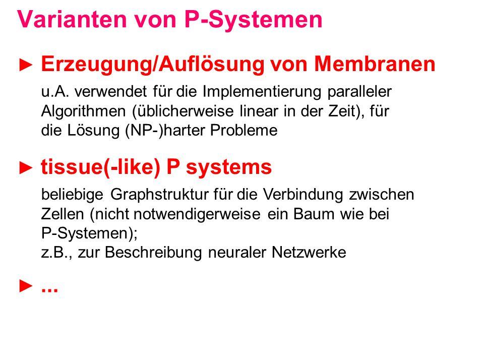 Varianten von P-Systemen u.A. verwendet für die Implementierung paralleler Algorithmen (üblicherweise linear in der Zeit), für die Lösung (NP-)harter