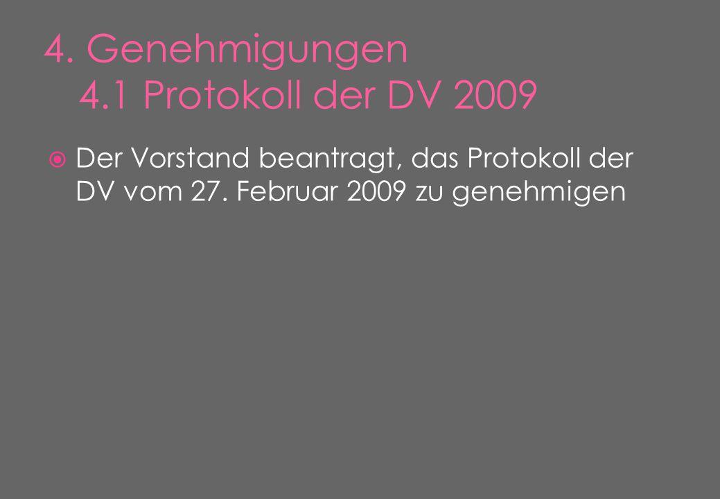  Der Vorstand beantragt, das Protokoll der DV vom 27. Februar 2009 zu genehmigen