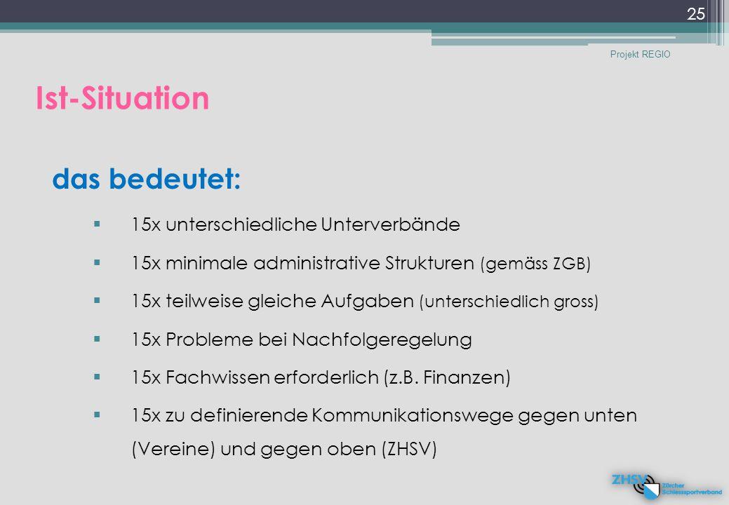 das bedeutet:  15x unterschiedliche Unterverbände  15x minimale administrative Strukturen (gemäss ZGB)  15x teilweise gleiche Aufgaben (unterschiedlich gross)  15x Probleme bei Nachfolgeregelung  15x Fachwissen erforderlich (z.B.