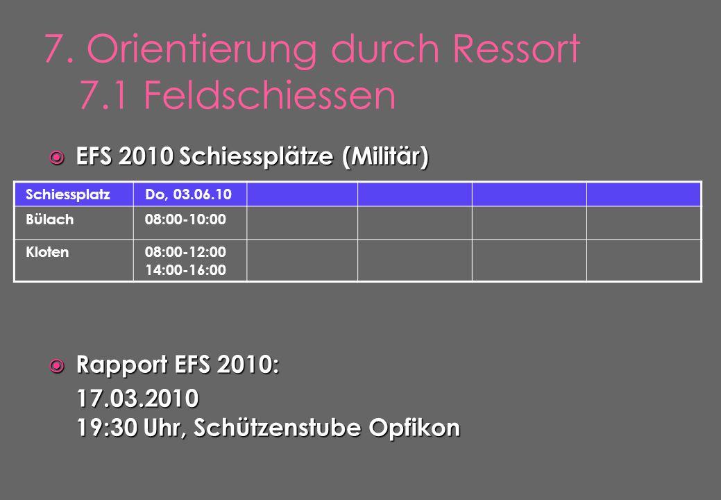  EFS 2010 Schiessplätze (Militär)  Rapport EFS 2010: 17.03.2010 19:30 Uhr, Schützenstube Opfikon SchiessplatzDo, 03.06.10 Bülach08:00-10:00 Kloten08:00-12:00 14:00-16:00