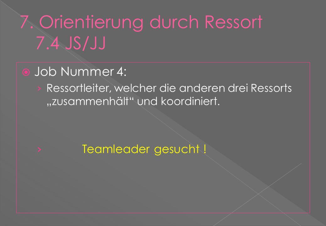 """ Job Nummer 4: › Ressortleiter, welcher die anderen drei Ressorts """"zusammenhält und koordiniert."""