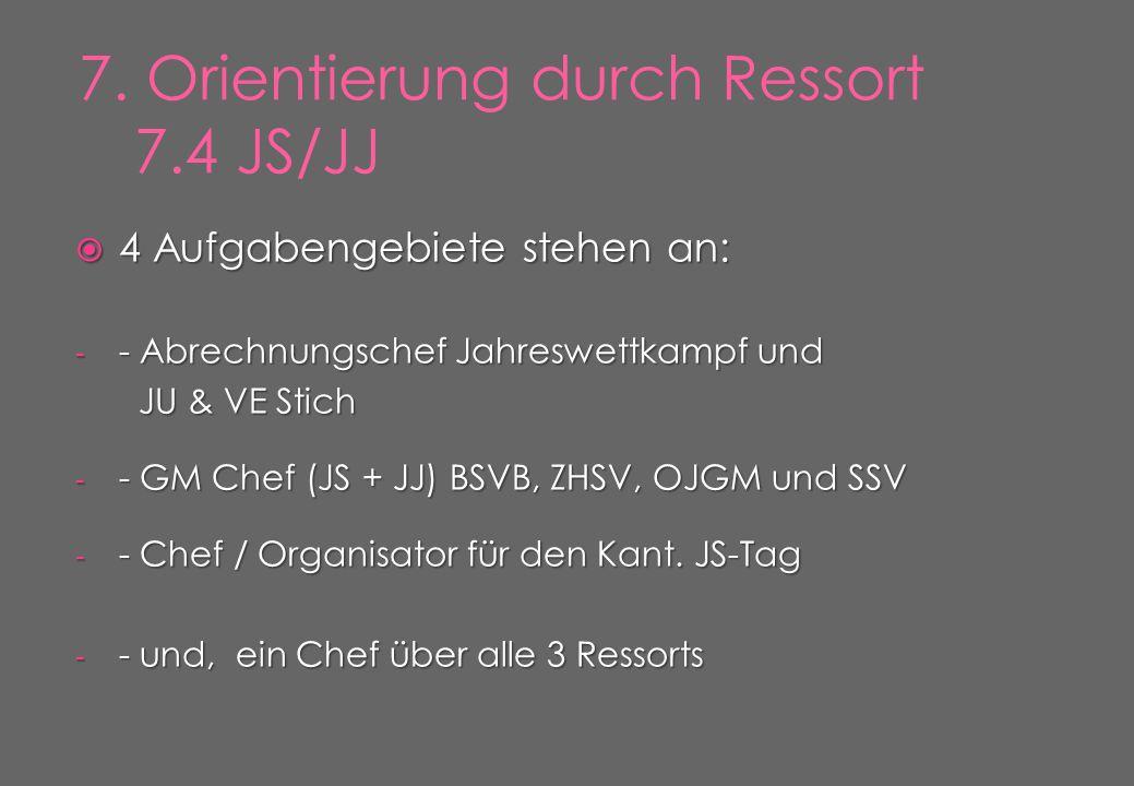 4 Aufgabengebiete stehen an: - - Abrechnungschef Jahreswettkampf und JU & VE Stich JU & VE Stich - - GM Chef (JS + JJ) BSVB, ZHSV, OJGM und SSV - - Chef / Organisator für den Kant.