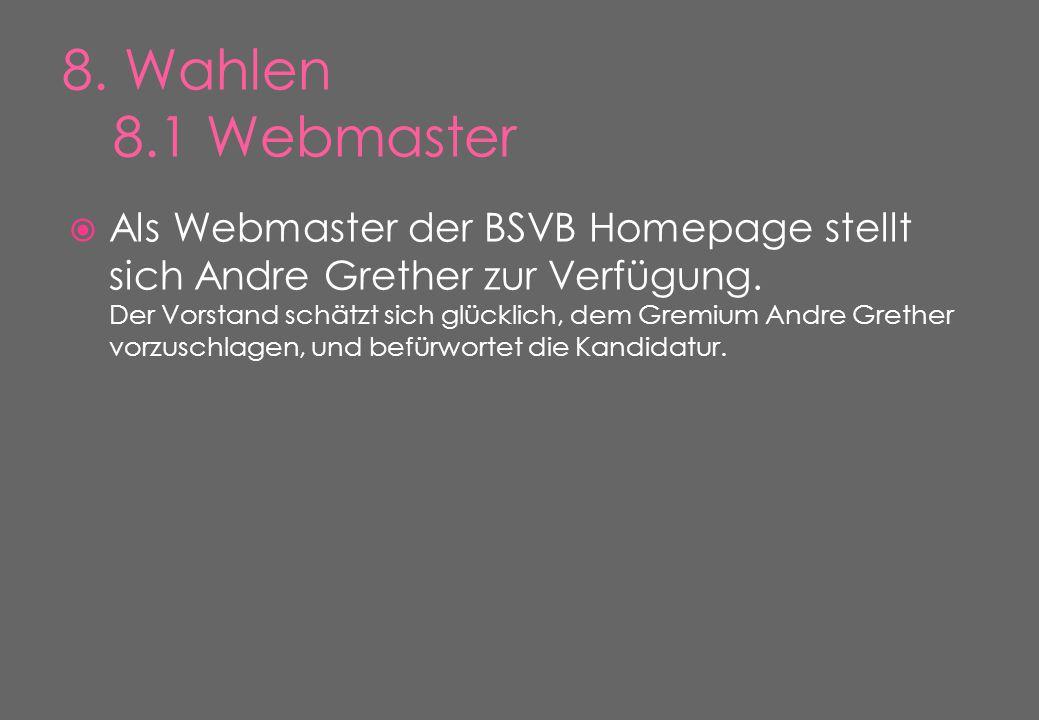  Als Webmaster der BSVB Homepage stellt sich Andre Grether zur Verfügung.