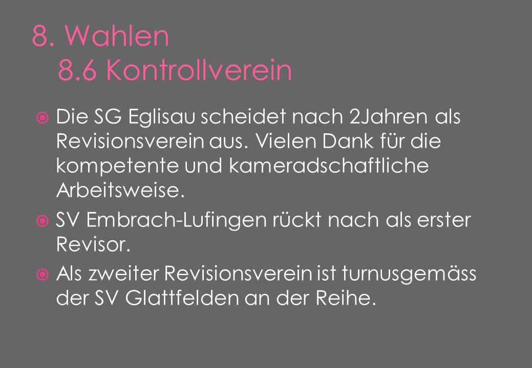  Die SG Eglisau scheidet nach 2Jahren als Revisionsverein aus.