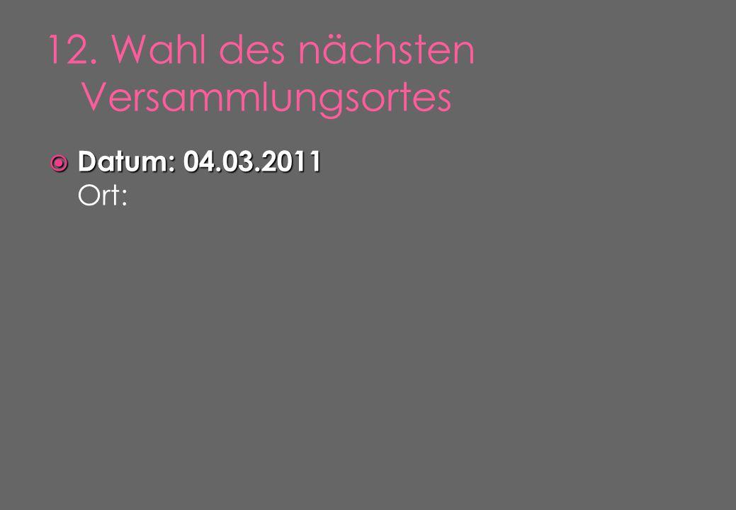  Datum: 04.03.2011  Datum: 04.03.2011 Ort:
