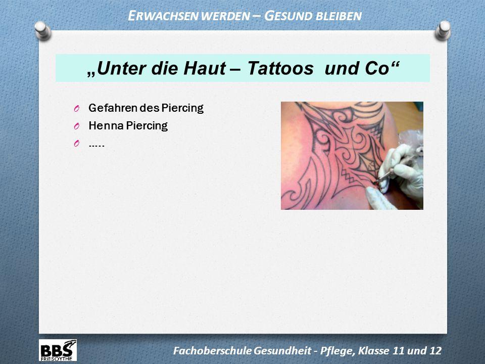 """O Gefahren des Piercing O Henna Piercing O ….. """"Unter die Haut – Tattoos und Co"""" Fachoberschule Gesundheit - Pflege, Klasse 11 und 12 E RWACHSEN WERDE"""