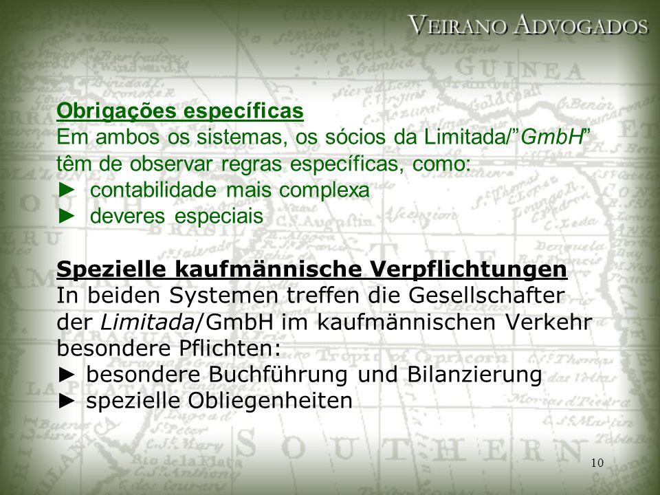 """10 Obrigações específicas Em ambos os sistemas, os sócios da Limitada/""""GmbH"""" têm de observar regras específicas, como: ► contabilidade mais complexa ►"""