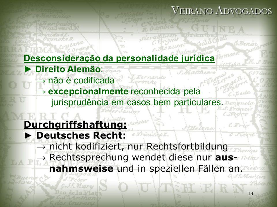 14 Desconsideração da personalidade jurídica ► Direito Alemão: → não é codificada → excepcionalmente reconhecida pela jurisprudência em casos bem part