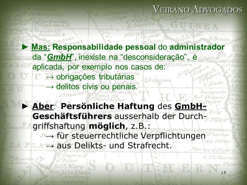 """15 ► Mas: Responsabilidade pessoal do administrador da """"GmbH"""", inexiste na """"desconsideração"""", é aplicada, por exemplo nos casos de: → obrigações tribu"""