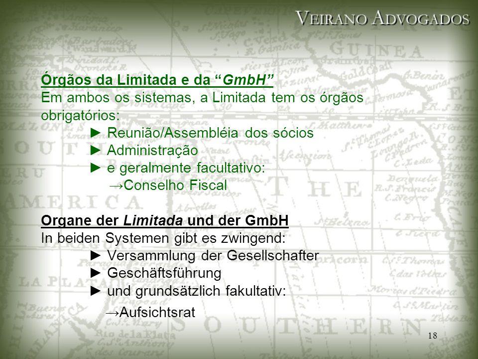 """18 Órgãos da Limitada e da """"GmbH"""" Em ambos os sistemas, a Limitada tem os órgãos obrigatórios: ► Reunião/Assembléia dos sócios ► Administração ► e ger"""