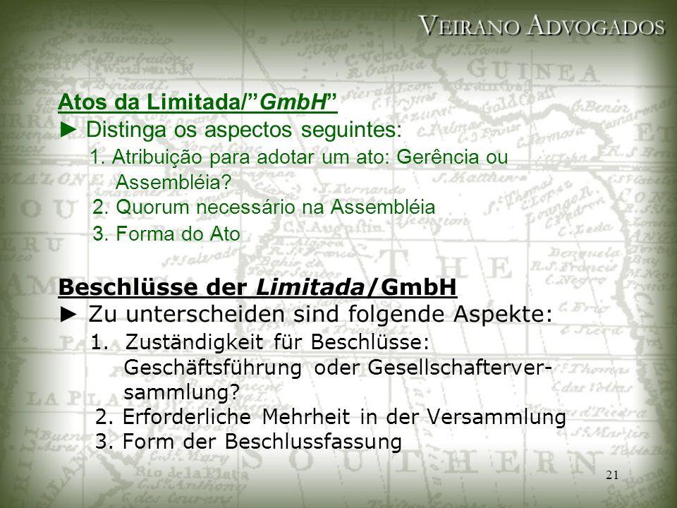 """21 Atos da Limitada/""""GmbH"""" ► Distinga os aspectos seguintes: 1. Atribuição para adotar um ato: Gerência ou Assembléia? 2. Quorum necessário na Assembl"""