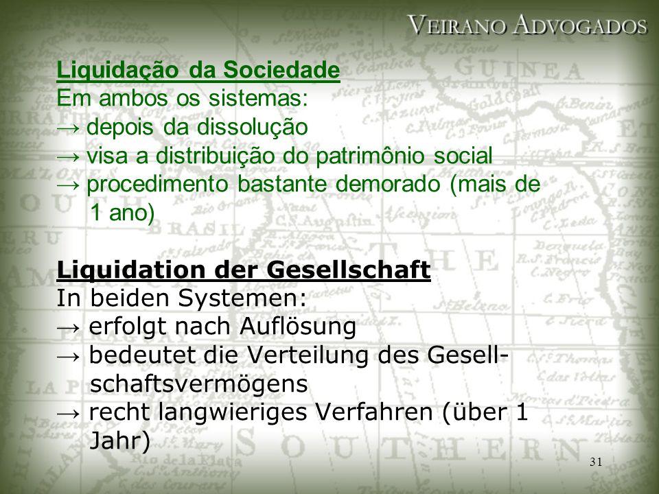 31 Liquidação da Sociedade Em ambos os sistemas: → depois da dissolução → visa a distribuição do patrimônio social → procedimento bastante demorado (m