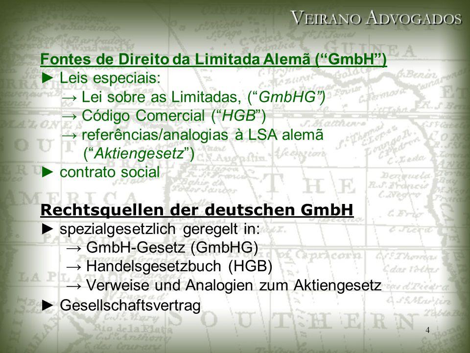 """4 Fontes de Direito da Limitada Alemã (""""GmbH"""") ► Leis especiais: → Lei sobre as Limitadas, (""""GmbHG"""") → Código Comercial (""""HGB"""") → referências/analogia"""