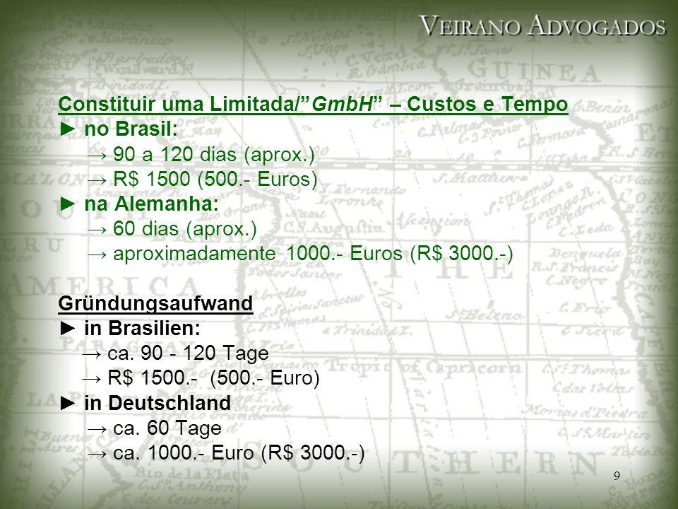 """9 Constituir uma Limitada/""""GmbH"""" – Custos e Tempo ► no Brasil: → 90 a 120 dias (aprox.) → R$ 1500 (500.- Euros) ► na Alemanha: → 60 dias (aprox.) → ap"""