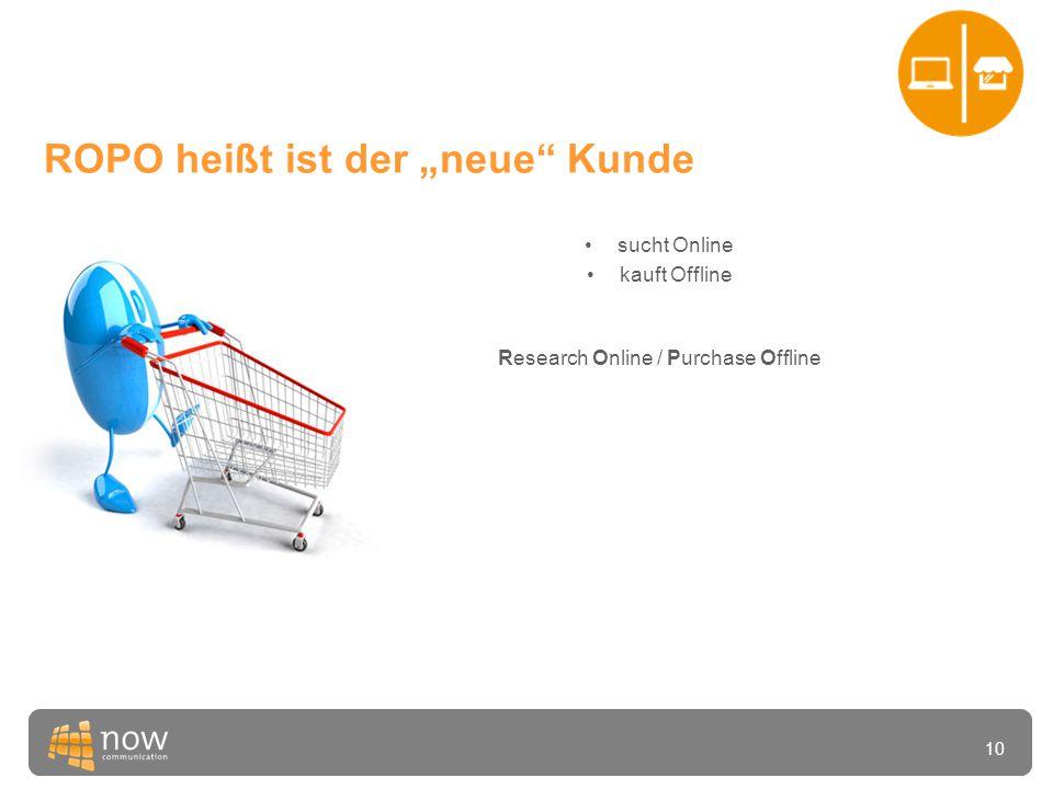 """10 ROPO heißt ist der """"neue Kunde •sucht Online •kauft Offline Research Online / Purchase Offline"""