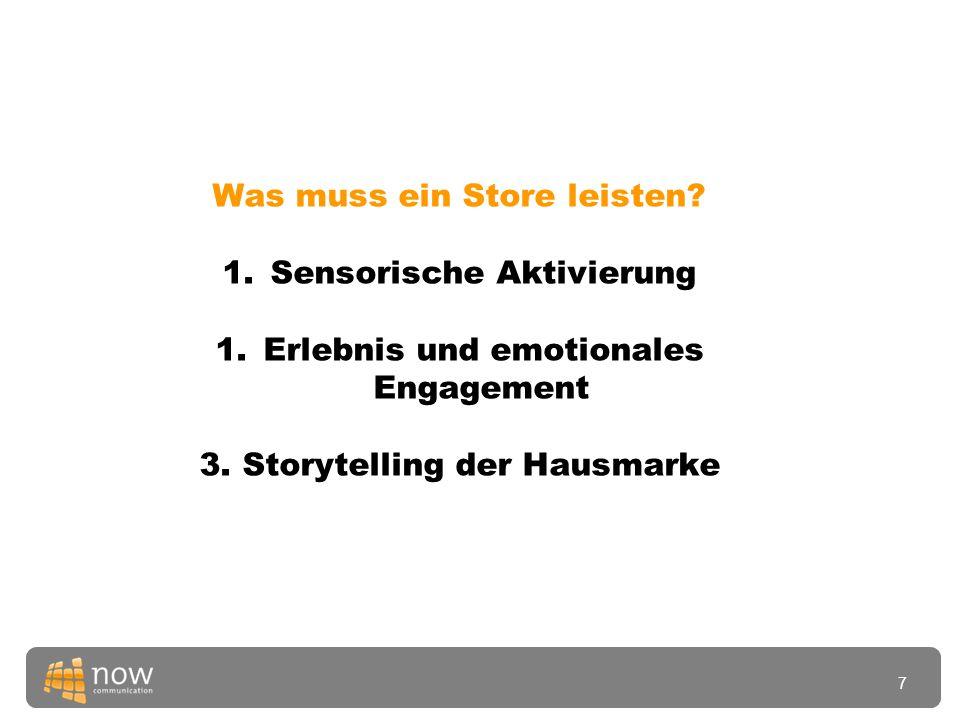Was muss ein Store leisten. 1.Sensorische Aktivierung 1.Erlebnis und emotionales Engagement 3.