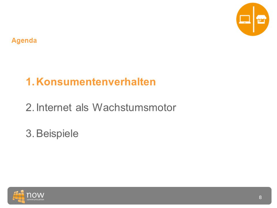 19 Agenda 1.Konsumentenverhalten 2.Internet als Wachstumsmotor 3.Beispiele und Diskussion