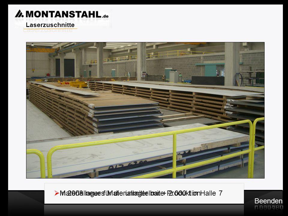 Laser - Profile  Materiallager für die unmittelbare Produktion Beenden  In 2008 neues Materiallager mit + 2.000 t in Halle 7 Laserzuschnitte