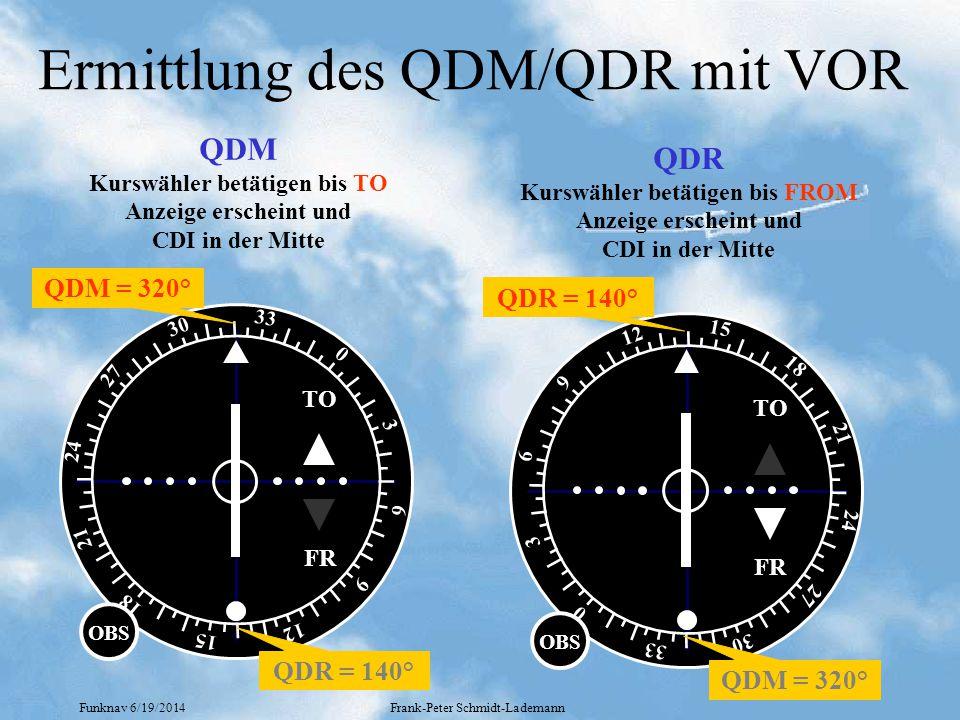 Funknav 6/19/2014Frank-Peter Schmidt-Lademann Ermittlung des QDM/QDR mit VOR TO FR 0 18 9 27 33 30 6 3 24 21 15 12 OBS QDM Kurswähler betätigen bis TO Anzeige erscheint und CDI in der Mitte QDM = 320° QDR = 140° TO FR 0 18 9 27 33 30 6 3 24 21 15 12 OBS QDR Kurswähler betätigen bis FROM Anzeige erscheint und CDI in der Mitte QDR = 140° QDM = 320°