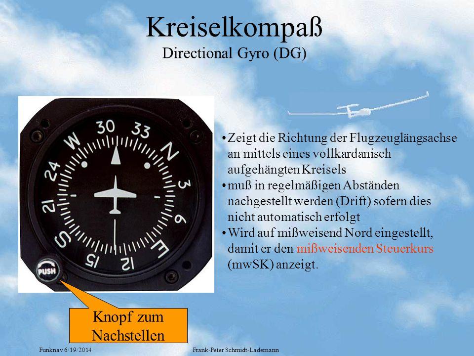 Funknav 6/19/2014Frank-Peter Schmidt-Lademann Kreiselkompaß Directional Gyro (DG) •Zeigt die Richtung der Flugzeuglängsachse an mittels eines vollkardanisch aufgehängten Kreisels •muß in regelmäßigen Abständen nachgestellt werden (Drift) sofern dies nicht automatisch erfolgt •Wird auf mißweisend Nord eingestellt, damit er den mißweisenden Steuerkurs (mwSK) anzeigt.