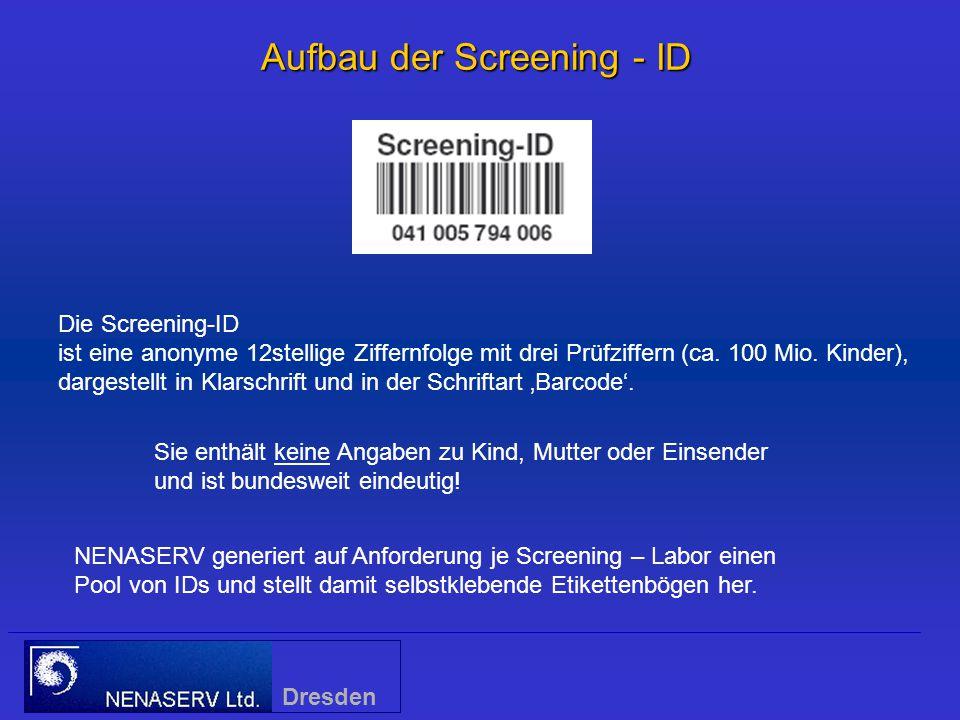 Aufbau der Screening - ID NENASERV generiert auf Anforderung je Screening – Labor einen Pool von IDs und stellt damit selbstklebende Etikettenbögen her.