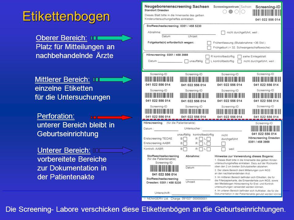 Etikettenbogen Die Screening- Labore verschicken diese Etikettenbögen an die Geburtseinrichtungen.