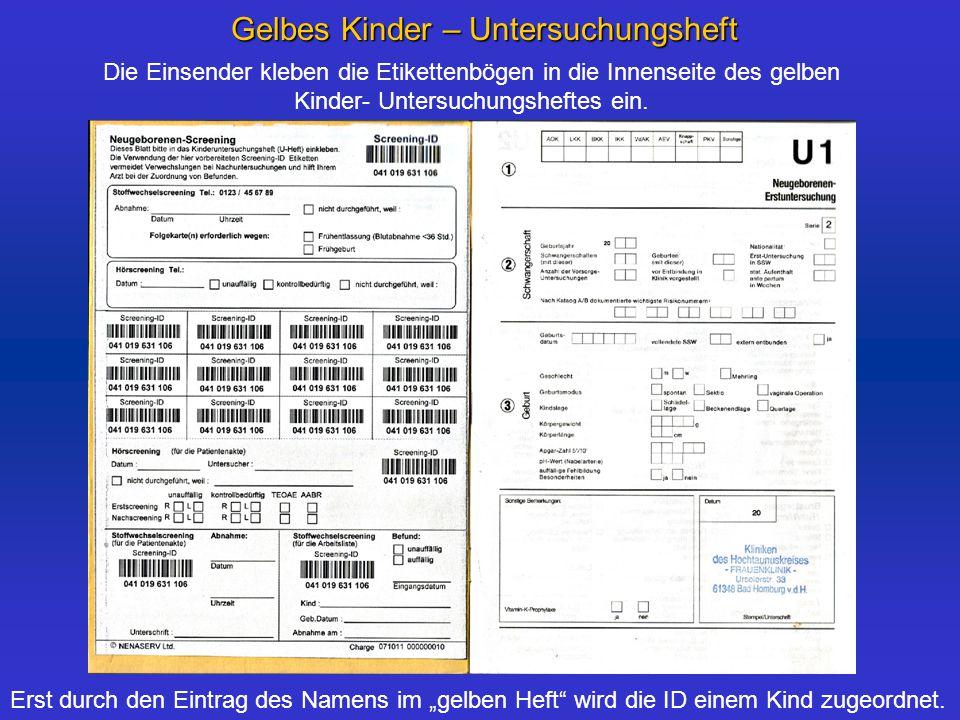 """Gelbes Kinder – Untersuchungsheft Erst durch den Eintrag des Namens im """"gelben Heft wird die ID einem Kind zugeordnet."""