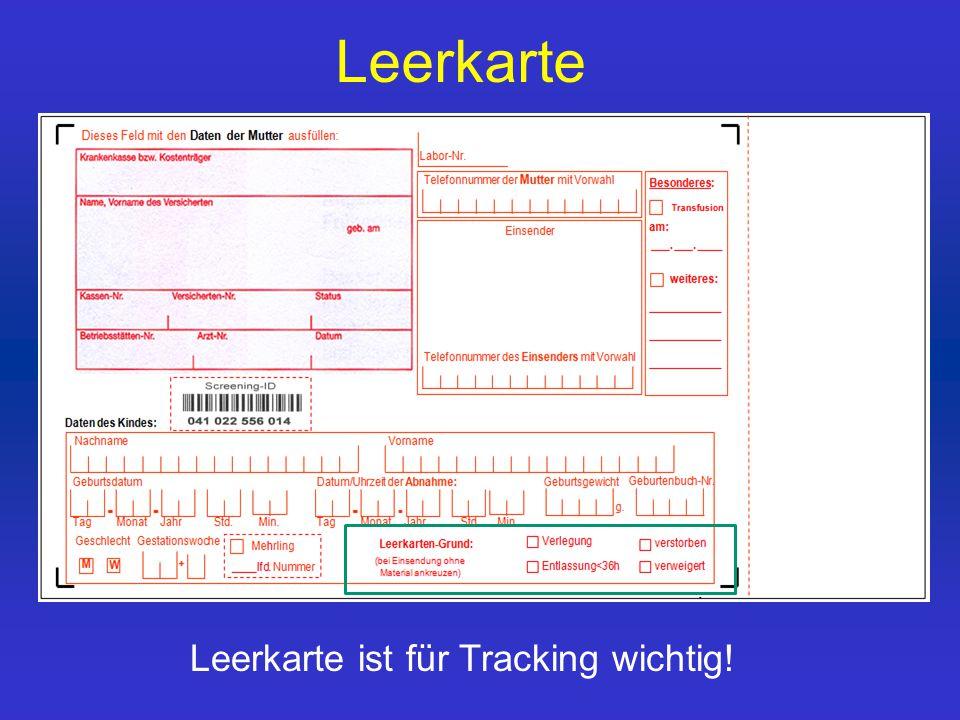 Leerkarte Leerkarte ist für Tracking wichtig!