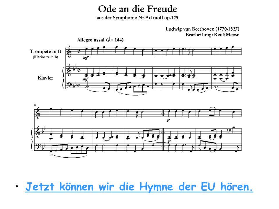 • •Die Europaflagge ist blau mit zwölf gelben Sternen.