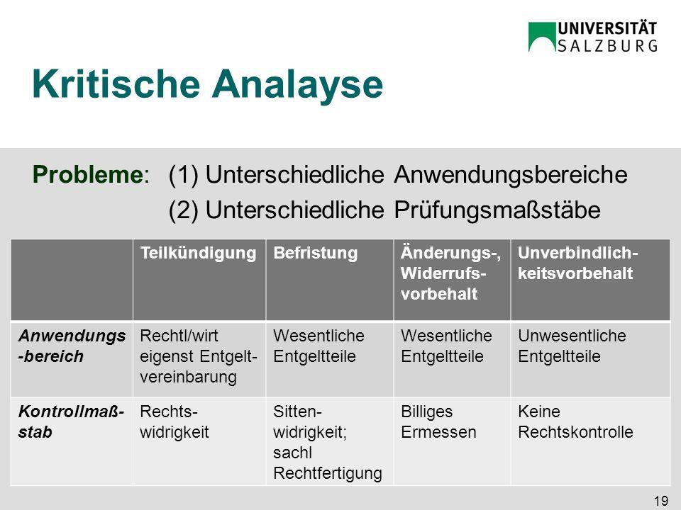Kritische Analayse Probleme:(1) Unterschiedliche Anwendungsbereiche (2) Unterschiedliche Prüfungsmaßstäbe 19 TeilkündigungBefristungÄnderungs-, Widerr