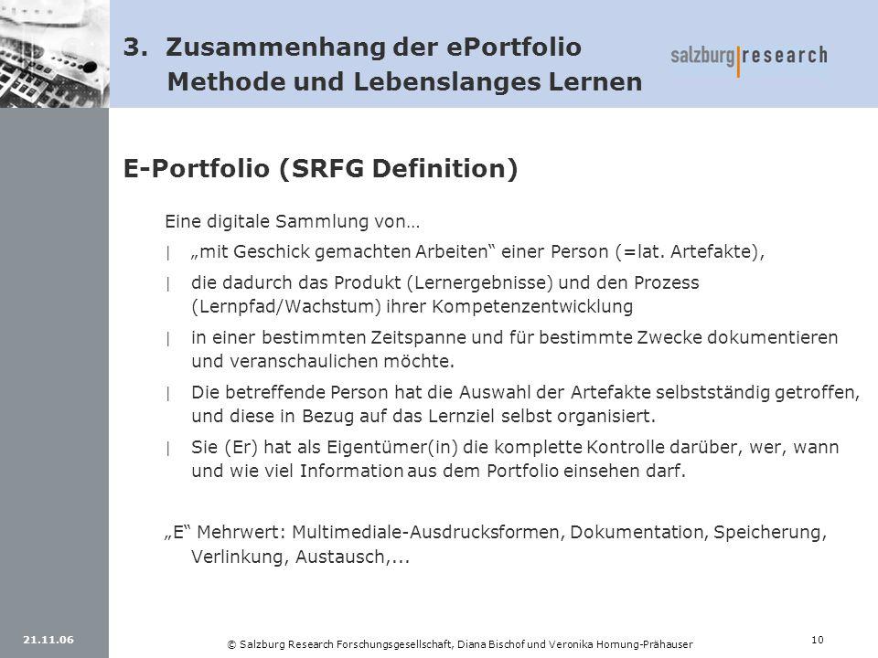 21.11.0610 © Salzburg Research Forschungsgesellschaft, Diana Bischof und Veronika Hornung-Prähauser E-Portfolio (SRFG Definition) Eine digitale Sammlu