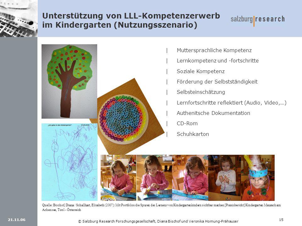 21.11.0615 © Salzburg Research Forschungsgesellschaft, Diana Bischof und Veronika Hornung-Prähauser Unterstützung von LLL-Kompetenzerwerb im Kindergar