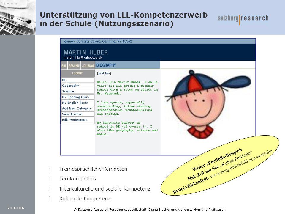 21.11.06 © Salzburg Research Forschungsgesellschaft, Diana Bischof und Veronika Hornung-Prähauser Unterstützung von LLL-Kompetenzerwerb in der Schule
