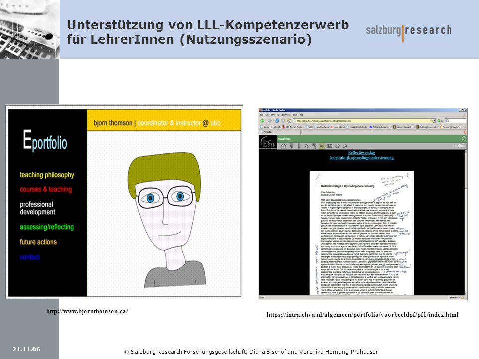 21.11.06 © Salzburg Research Forschungsgesellschaft, Diana Bischof und Veronika Hornung-Prähauser https://intra.ehva.nl/algemeen/portfolio/voorbeeldpf