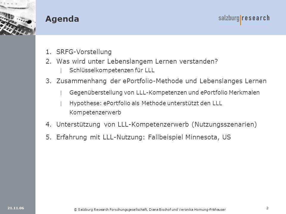 21.11.062 © Salzburg Research Forschungsgesellschaft, Diana Bischof und Veronika Hornung-Prähauser 1.SRFG-Vorstellung 2.Was wird unter Lebenslangem Le