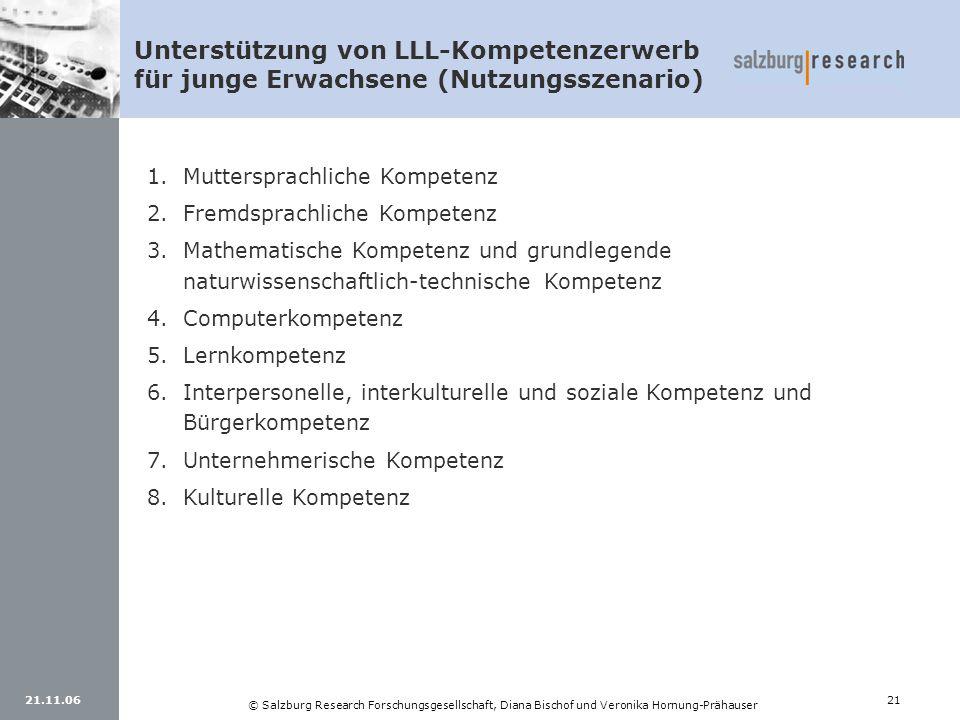 21.11.0621 © Salzburg Research Forschungsgesellschaft, Diana Bischof und Veronika Hornung-Prähauser Unterstützung von LLL-Kompetenzerwerb für junge Er