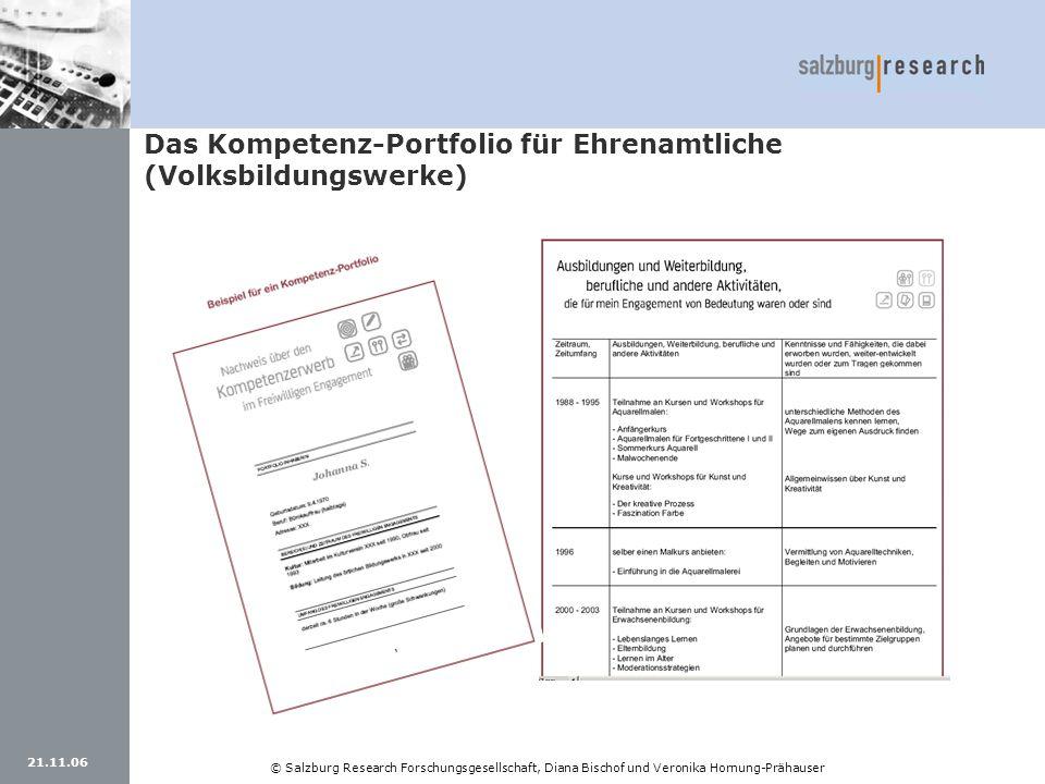 21.11.06 © Salzburg Research Forschungsgesellschaft, Diana Bischof und Veronika Hornung-Prähauser Das Kompetenz-Portfolio für Ehrenamtliche (Volksbild