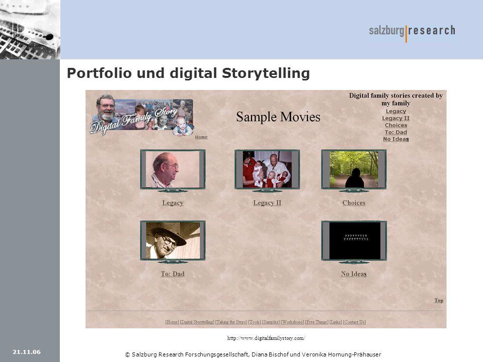 21.11.06 © Salzburg Research Forschungsgesellschaft, Diana Bischof und Veronika Hornung-Prähauser Portfolio und digital Storytelling http://www.digita