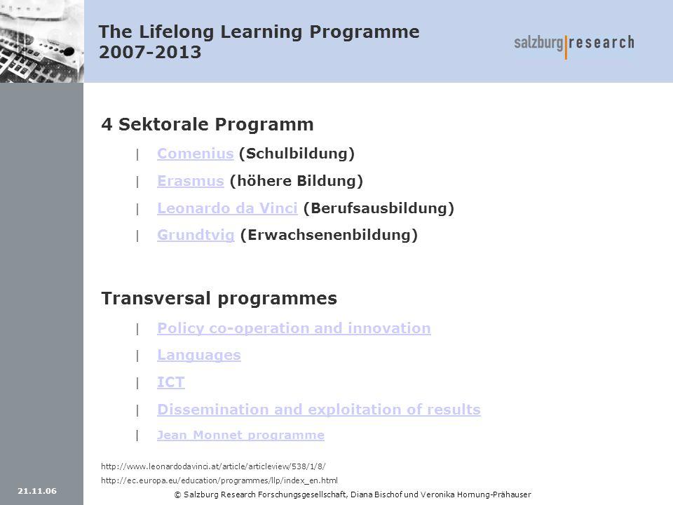 21.11.06 © Salzburg Research Forschungsgesellschaft, Diana Bischof und Veronika Hornung-Prähauser The Lifelong Learning Programme 2007-2013 4 Sektoral