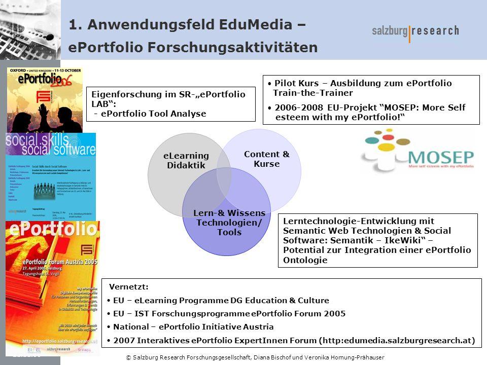 21.11.06 © Salzburg Research Forschungsgesellschaft, Diana Bischof und Veronika Hornung-Prähauser Lerntechnologie-Entwicklung mit Semantic Web Technol