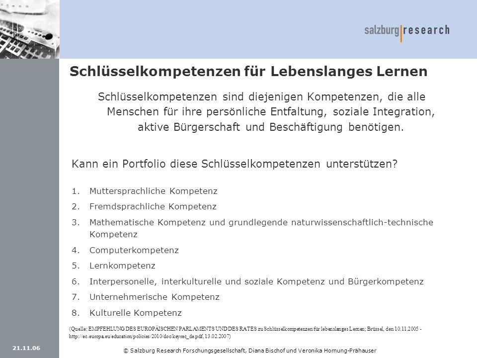 21.11.06 © Salzburg Research Forschungsgesellschaft, Diana Bischof und Veronika Hornung-Prähauser Schlüsselkompetenzen für Lebenslanges Lernen Schlüss