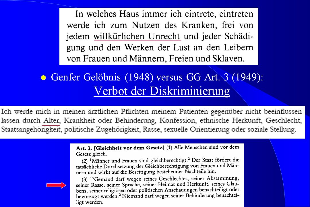 l Genfer Gelöbnis (1948) versus GG Art. 3 (1949): Verbot der Diskriminierung