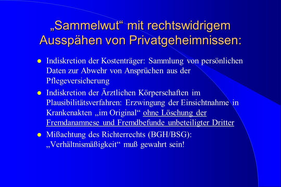 """""""Sammelwut"""" mit rechtswidrigem Ausspähen von Privatgeheimnissen: l Indiskretion der Kostenträger: Sammlung von persönlichen Daten zur Abwehr von Anspr"""