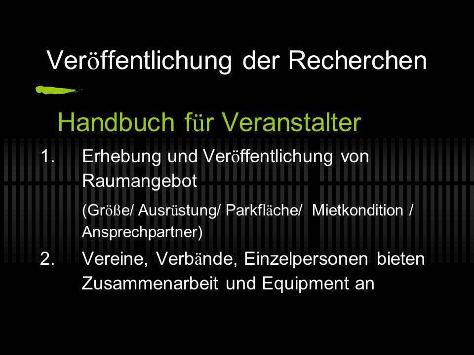Ver ö ffentlichung der Recherchen Handbuch f ü r Veranstalter 1.